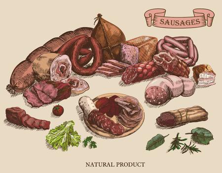 vleesproducten set van de hand getekende vector schetsen op een grijze achtergrond