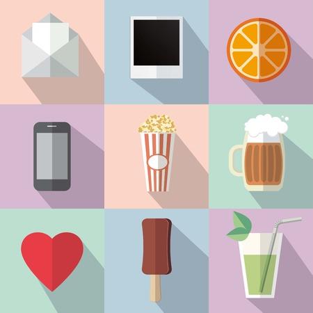 non alcohol: conjunto de nueve iconos vectoriales de colores proyecta una sombra Vectores