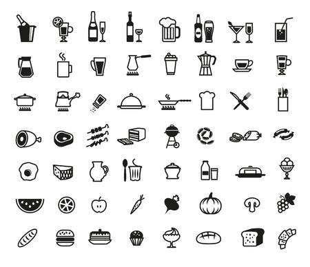 aliments: les denr�es alimentaires ensemble d'ic�nes vectorielles sur un fond blanc