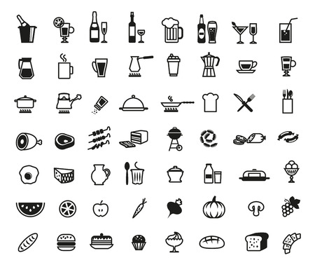 foodstuffs set of vector icons on a white background Illustration