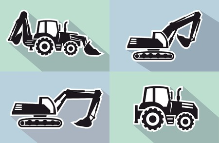 dredge to dig: tractor one black icon on grey background