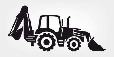 dredge to dig: tractor and excavator four black icons on a colored background