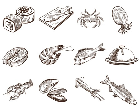 frozen fish: foodstuffs set of hand drawn vector sketches on a white background Illustration
