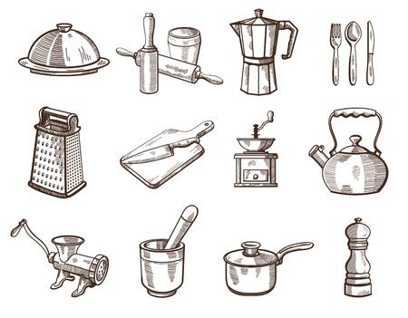 Collection of detailed kitchen utensils on a white background. Vector sketches Ilustracja