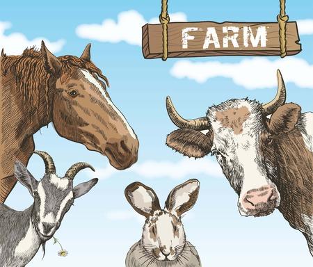 Groep van landbouwhuisdieren op de achtergrond van blauwe hemel met witte wolken Stock Illustratie