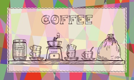 abstract mill: Poster with coffee set on the shelf. Colorful abstract background Illustration