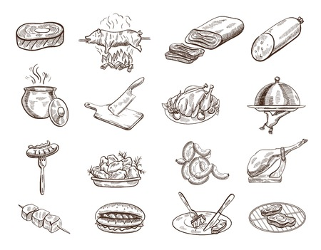 dishes set: Set of sixteen sketches of food on the white background Illustration