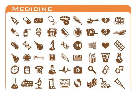 einlauf: Fünfzig vier braunen Medizin-Symbol auf weißem Hintergrund mit orangefarbenen Rahmen gesetzt
