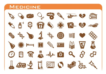 ampoule: Fifty four brown medicine icon set on white background with orange frame