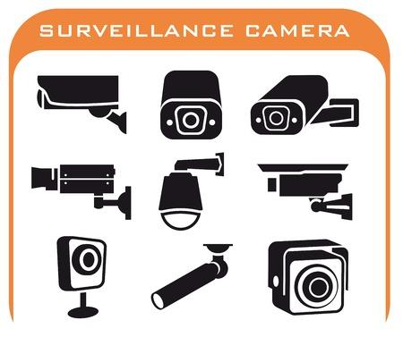 bewakingscamera set van gekleurde pictogrammen op een witte achtergrond