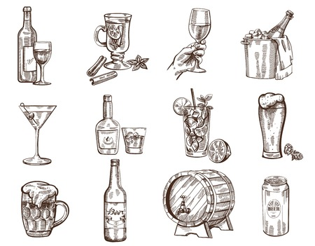 bouteille de vin: Vecteur boissons dessin�s � la main sur fond blanc collection Illustration