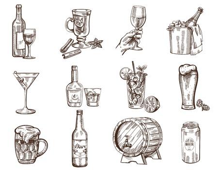 sektglas: Vector Hand gezeichnete Getränke Sammlung auf weißem Hintergrund