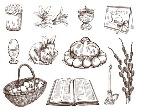 eleven: Eleven detailed element of  Easter set on white background Illustration
