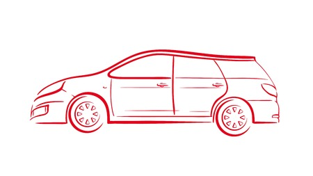 lifelike: Silhouette of red car on white background Illustration