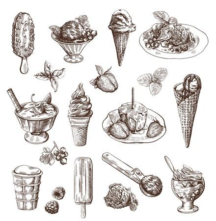 postres: Set con la mano vector dibujado helado detallada y fruta de postre
