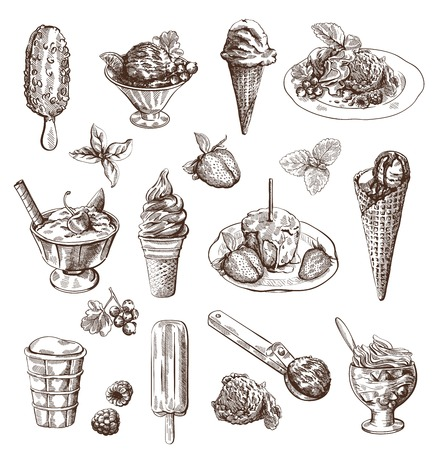vanilla ice cream: Vector set with hand drawn detailed ice cream and fruit dessert