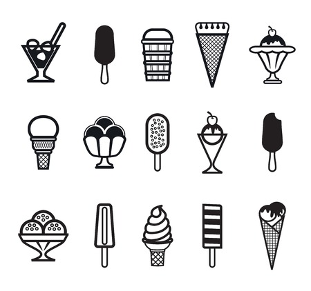Fifteen vector black ice cream icons on a white background