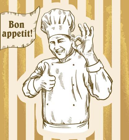 cocinero: Ilustración de un chef que da la muestra de acuerdo en el fondo de rayas Vectores