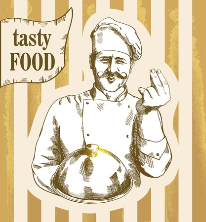 gourmet: cooking and food concept Illustration of a gourmet chef which holding silver platter and giving an tasty sign