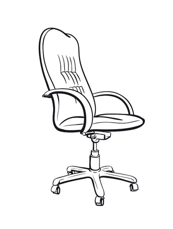 ergonomic: Black  chair silhouette on white background vector icon Illustration