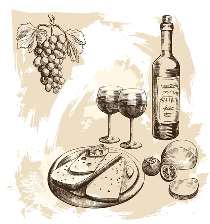 queso: Hermoso conjunto imagen detallada de vino y queso con
