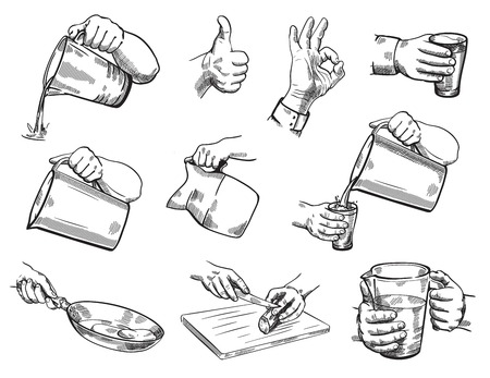 grabbing: Isolated hand gestures illustration of kitchen theme