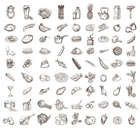 vector afbeelding van zwarte voedsel grote set Stock Illustratie