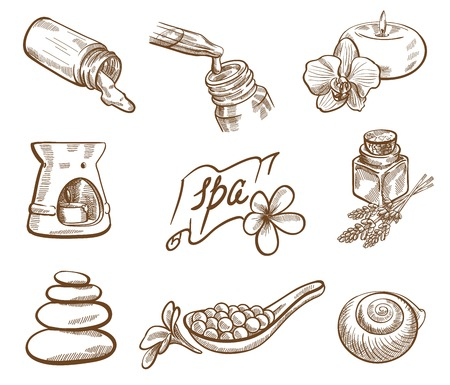 sauna: spa therapy vector set of nine thumbnails on a gray background Illustration