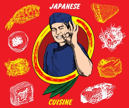 okay: Vector image of japanese chef which give okay sign with sushi set around him Illustration