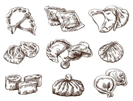 만두와 상세한 이미지의 벡터 스케치