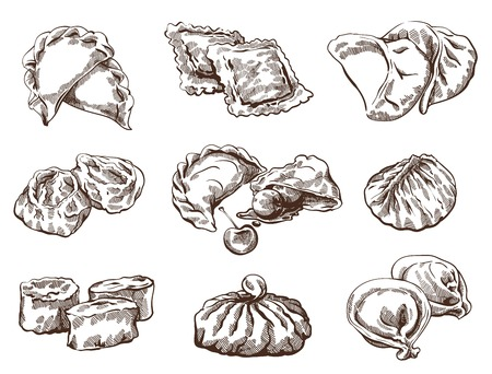 Vector sketch of  detailed image with dumplings Vectores
