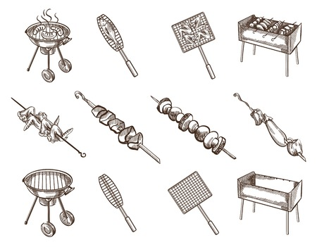 shish kebab: Twelve black images of  barbecue grill  theme on white background