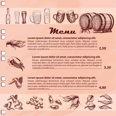 pub food: Pub menu with price and image of beer and food around page