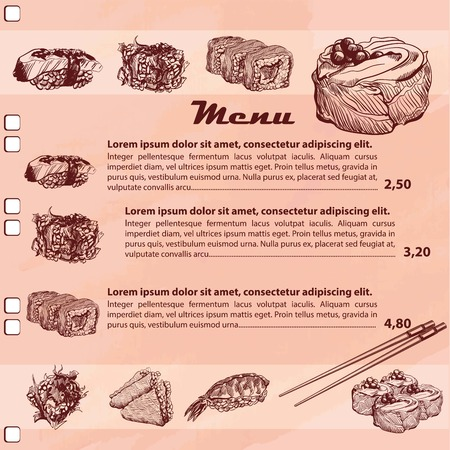 susi: Template design of Sushi Menu with sketch of Japanese sushi and rolls around page