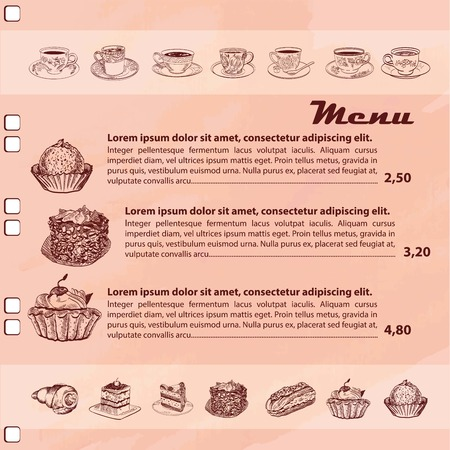 pamphlet: Restaurant or cafe menu with sketch of  bakery and drinks around page
