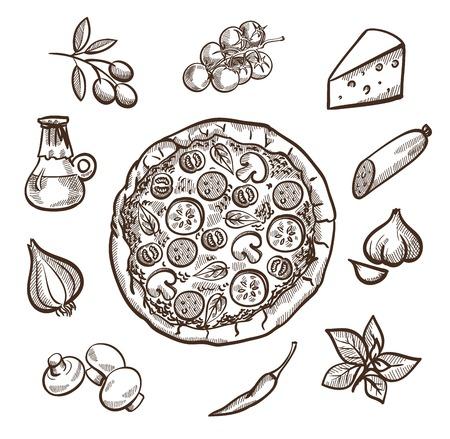 pizza: Conjunto de imágenes con la pizza en el centro y los ingredientes para la pizza alrededor