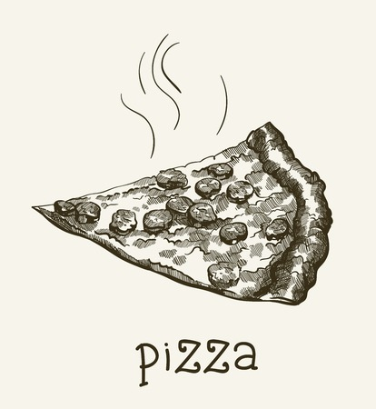 freshly: a piece of fragrant freshly prepared pizza vector sketch on gray background