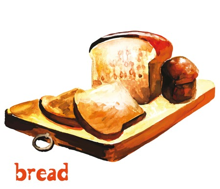 rye bread: Watercolor image of rye bread on a cutting board with slices of bread