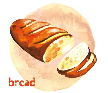 bread: sliced loaf of wheat vector illustration gouache