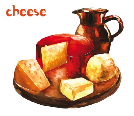 Watercolor image of  variety of cheeses on wooden platter with milk in the jar Illustration