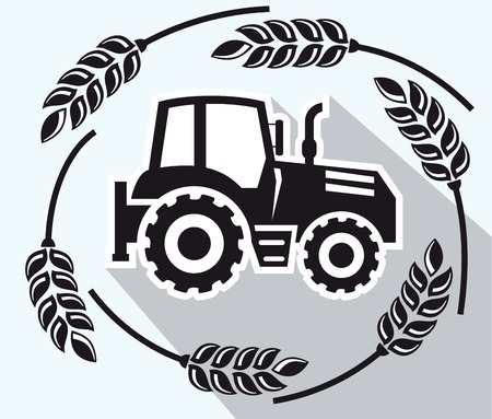 tractor sign: tractor black icon on a grey background