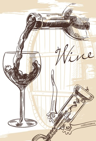 Hand drawn image of wine bottle with glass and corkscrew on background with cask Vectores