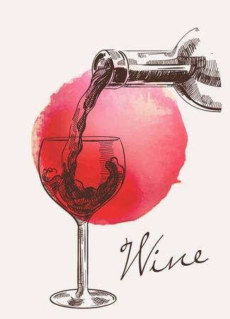 Vector sketch of bottle with wine which pouring into glass on watercolour background with red spot
