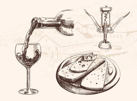 vino: Vector el bosquejo de vino fijado con la botella, vidrio, sacacorchos y el queso en rodajas