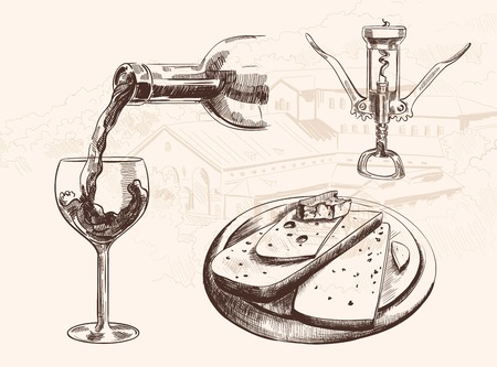 wine and cheese: Vector sketch of wine set with bottle, glass, corkscrew and sliced cheese