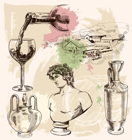 bust: Set with wine image, jugs, bust and winery on vintage background