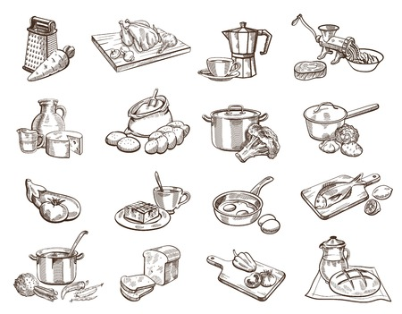 Zestien zwarte icon set met afbeelding van voedsel en keukengerei Stock Illustratie