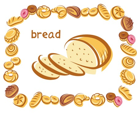 Vector poster of bread in the center of image and different baking around image