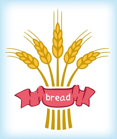 sheaf: Sheaf of wheat ears with ribbon in colors Illustration