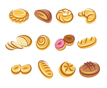 french bread rolls: Twelve cartoon bread multicolored icons on white background